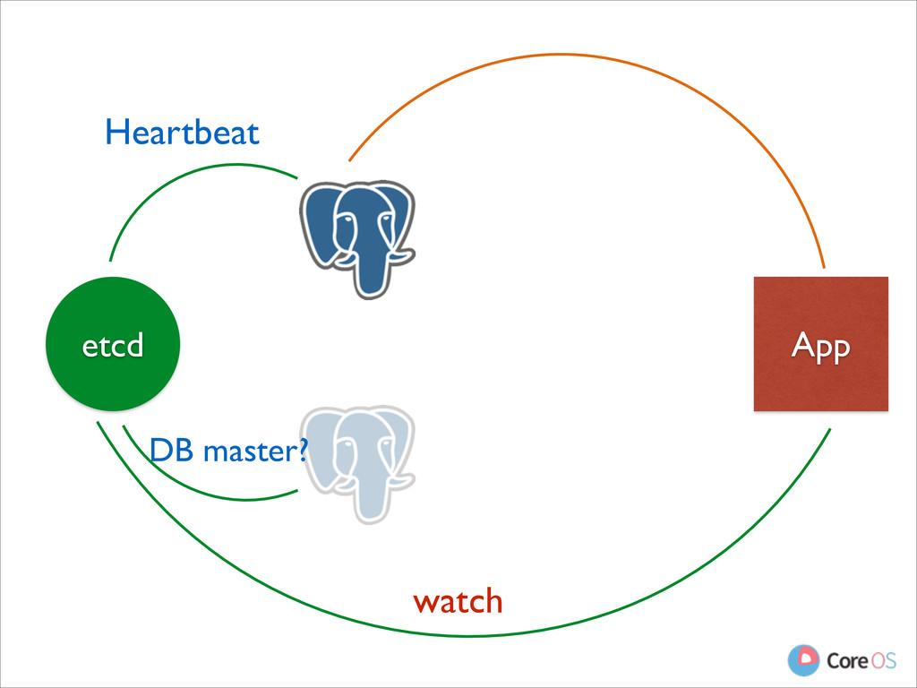 App etcd DB master? Heartbeat watch