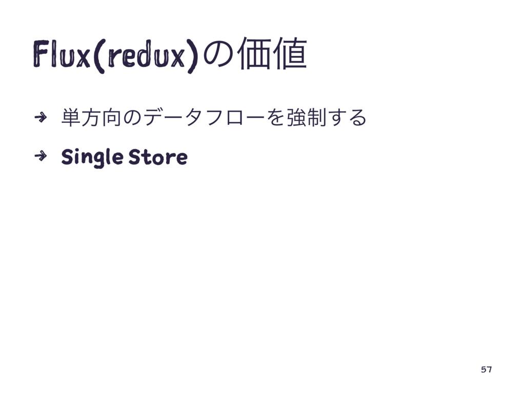 Flux(redux)ͷՁ 4 ୯ํͷσʔλϑϩʔΛڧ੍͢Δ 4 Single Store...