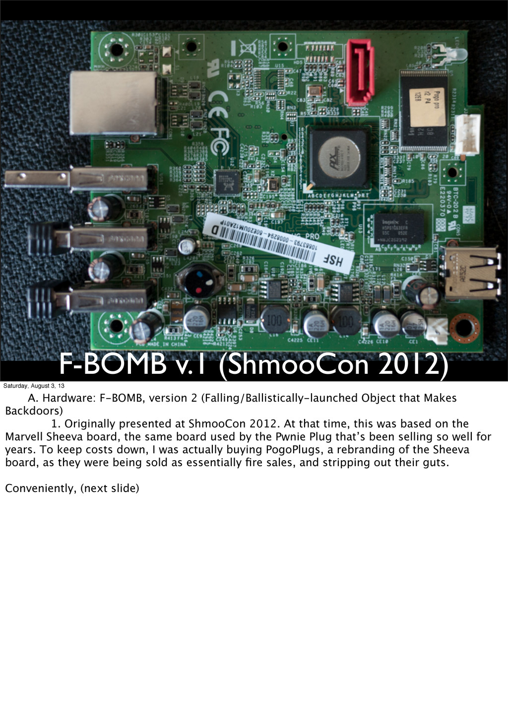 F-BOMB v.1 (ShmooCon 2012) Saturday, August 3, ...