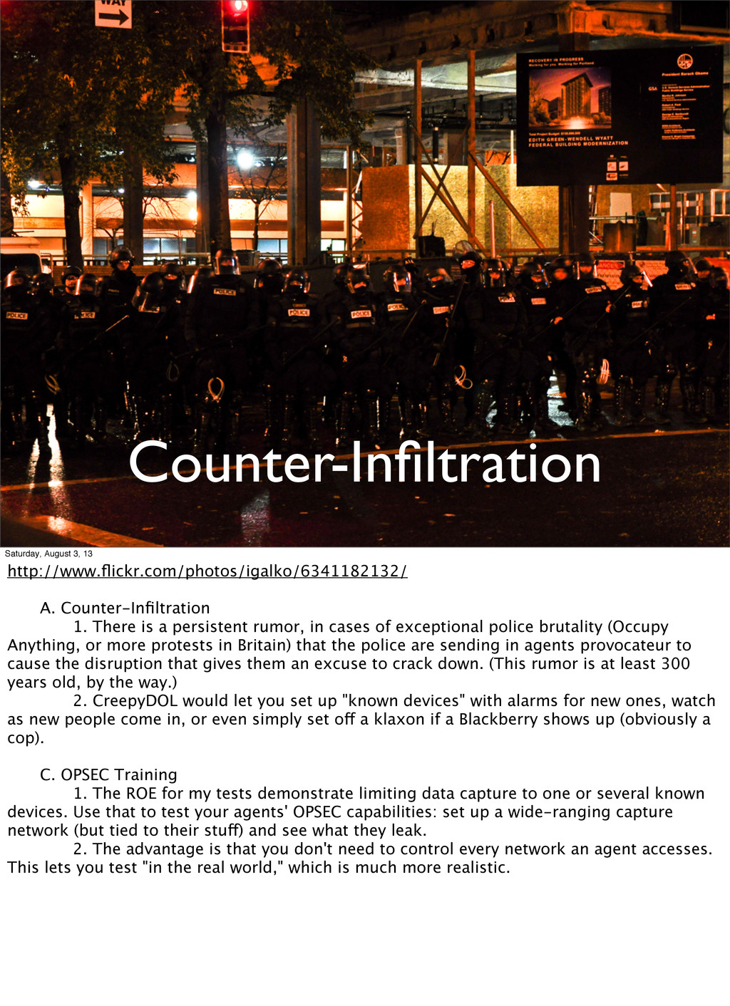 Counter-Infiltration Saturday, August 3, 13 http...