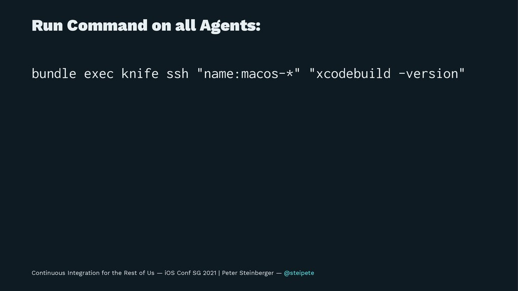 Run Command on all Agents: bundle exec knife ss...