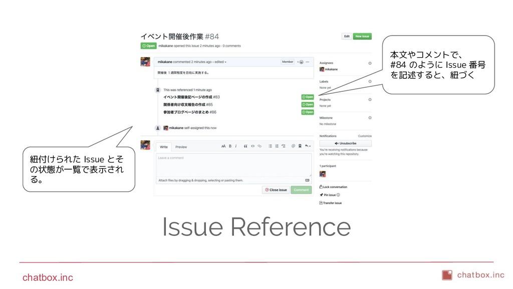 chatbox.inc Issue Reference 紐付けられた Issue とそ の状態...