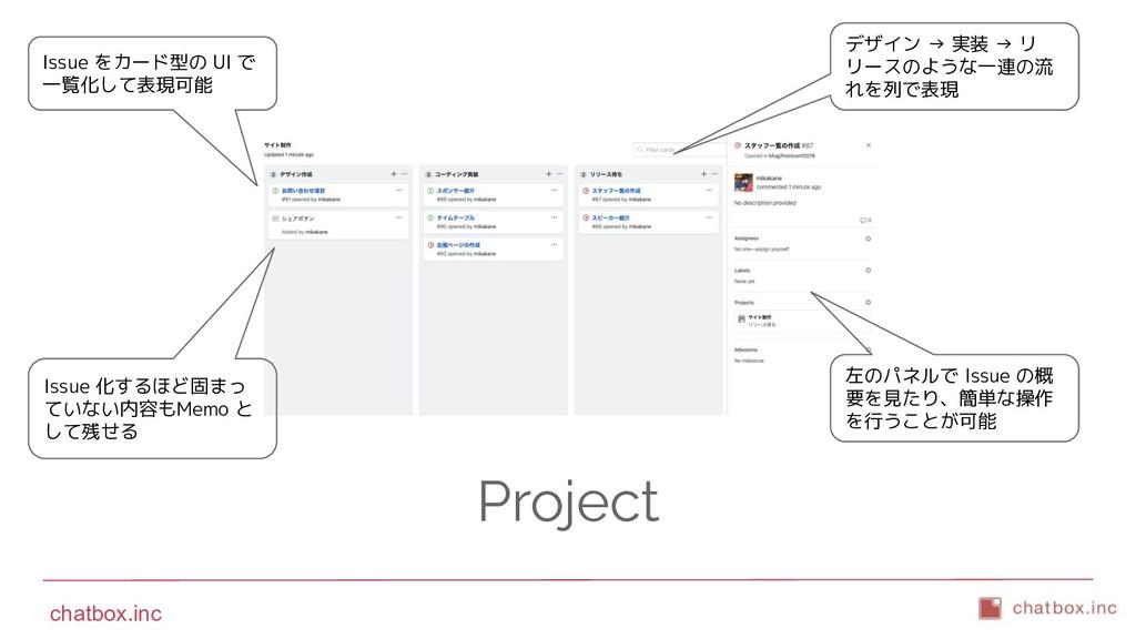 chatbox.inc Project Issue をカード型の UI で 一覧化して表現可能...