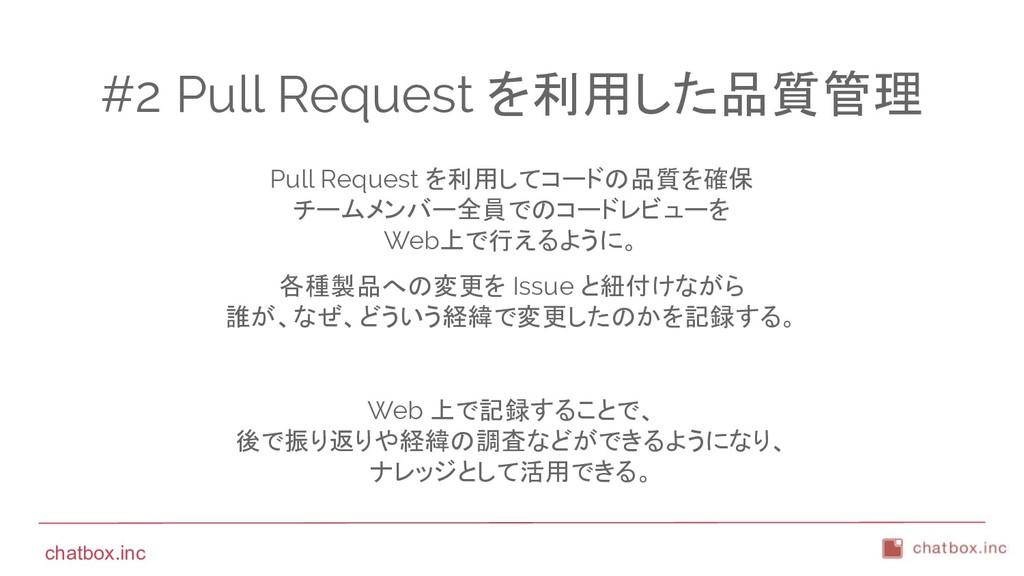 chatbox.inc #2 Pull Request を利用した品質管理 Pull Requ...