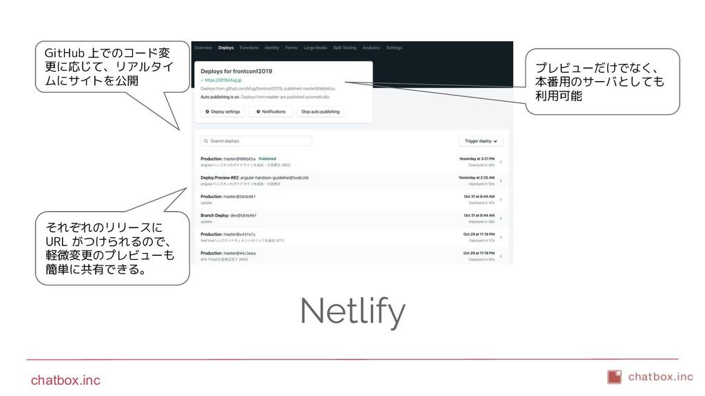 chatbox.inc Netlify プレビューだけでなく、 本番用のサーバとしても 利用可...