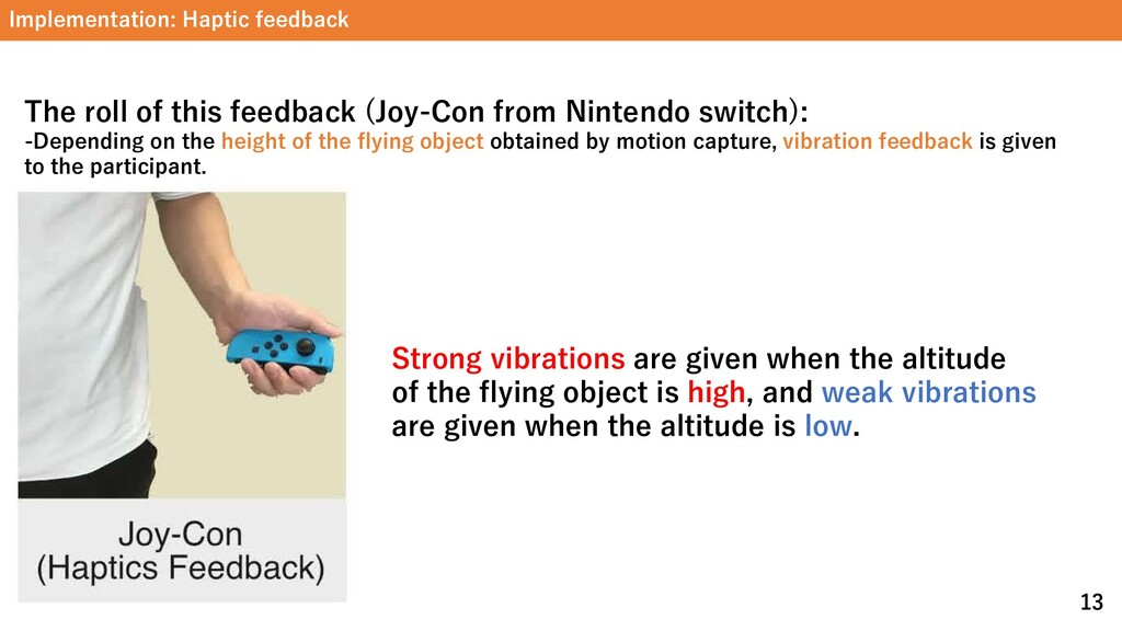Implementation: Haptic feedback 13 Strong vibra...