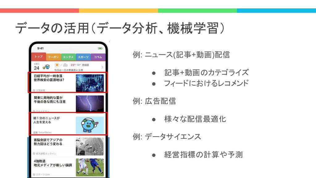 データの活用(データ分析、機械学習) 例: ニュース(記事+動画)配信 ● 記事+動画のカテゴ...