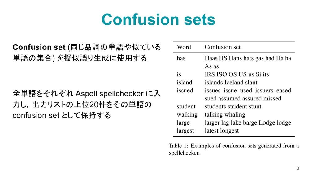 Confusion sets 3 Confusion set (同じ品詞の単語や似ている 単語...