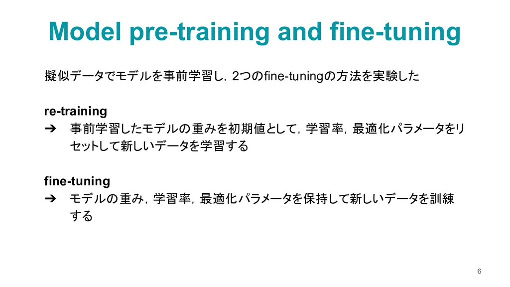 擬似データでモデルを事前学習し,2つのfine-tuningの方法を実験した re-train...