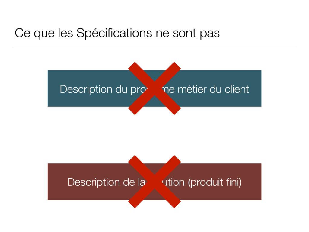 Ce que les Spécifications ne sont pas Descriptio...