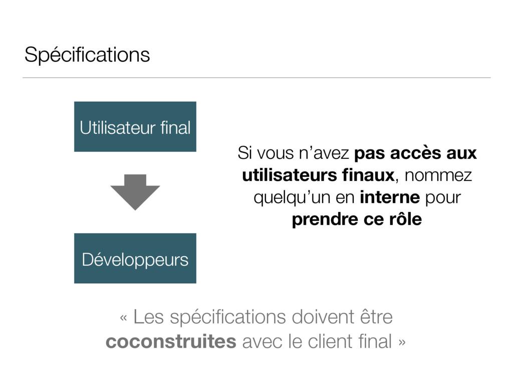 Spécifications Utilisateur final Développeurs « L...