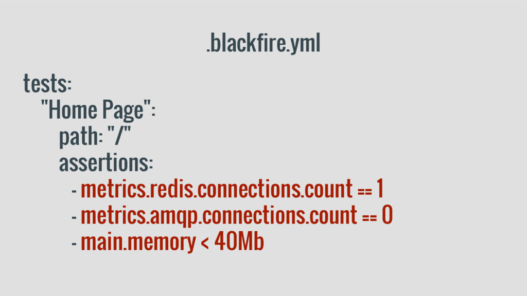 """.blackfire.yml tests: """"Home Page"""": path: """"/"""" as..."""
