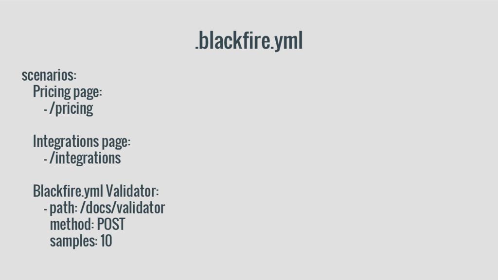.blackfire.yml scenarios: Pricing page: - /pric...