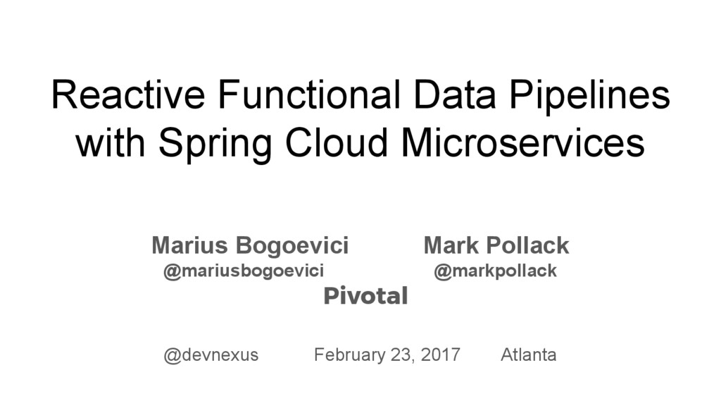 Reactive Functional Data Pipelines with Spring ...