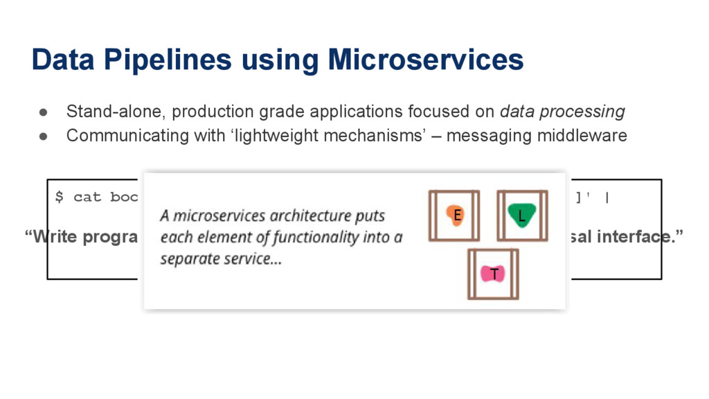 Data Pipelines using Microservices ● Stand-alon...