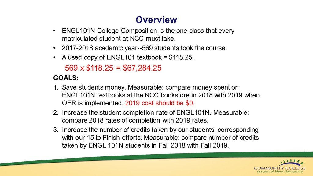 Overview • ENGL101N College Composition is the ...
