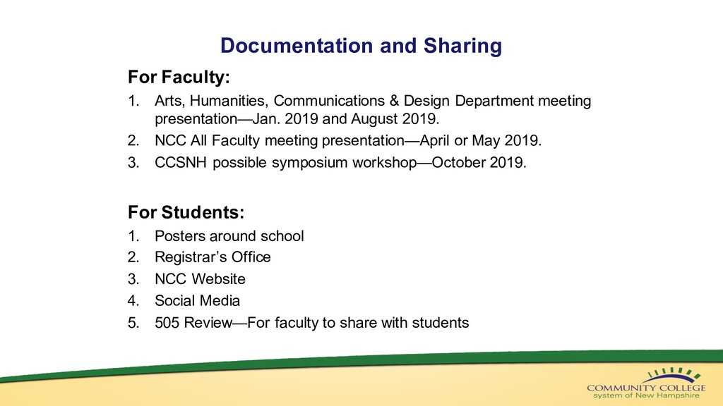 Documentation and Sharing For Faculty: 1. Arts,...