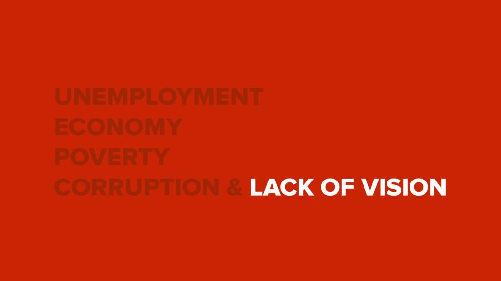 UNEMPLOYMENT ECONOMY POVERTY CORRUPTION & LACK ...