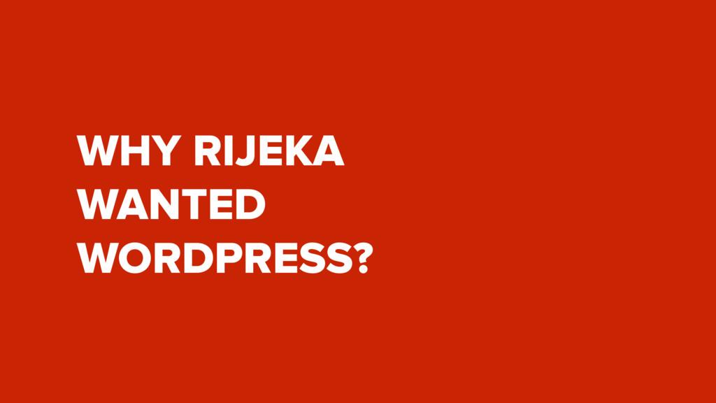 WHY RIJEKA  WANTED  WORDPRESS?