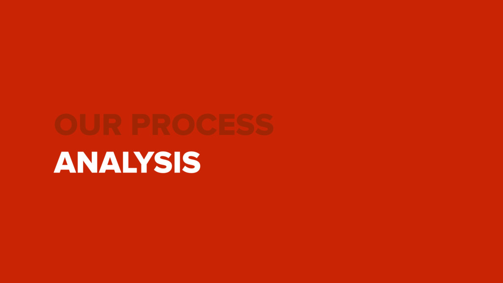 OUR PROCESS ANALYSIS