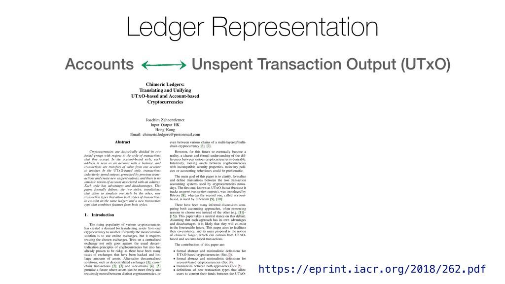 Accounts Unspent Transaction Output (UTxO) Ledg...