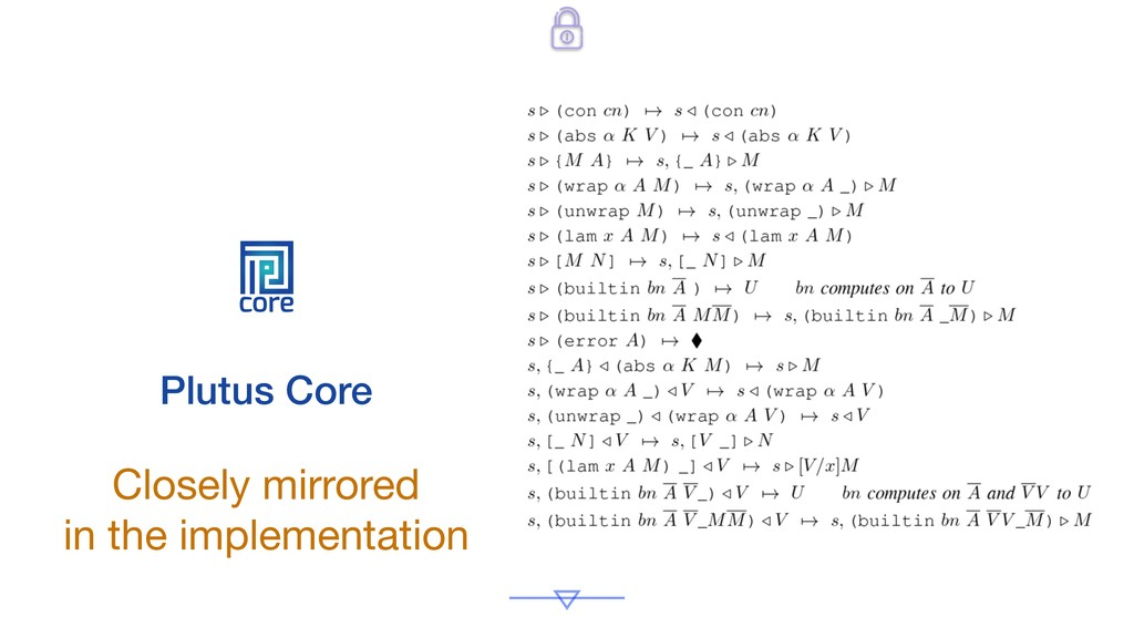 core Plutus Core Closely mirrored  in the imple...