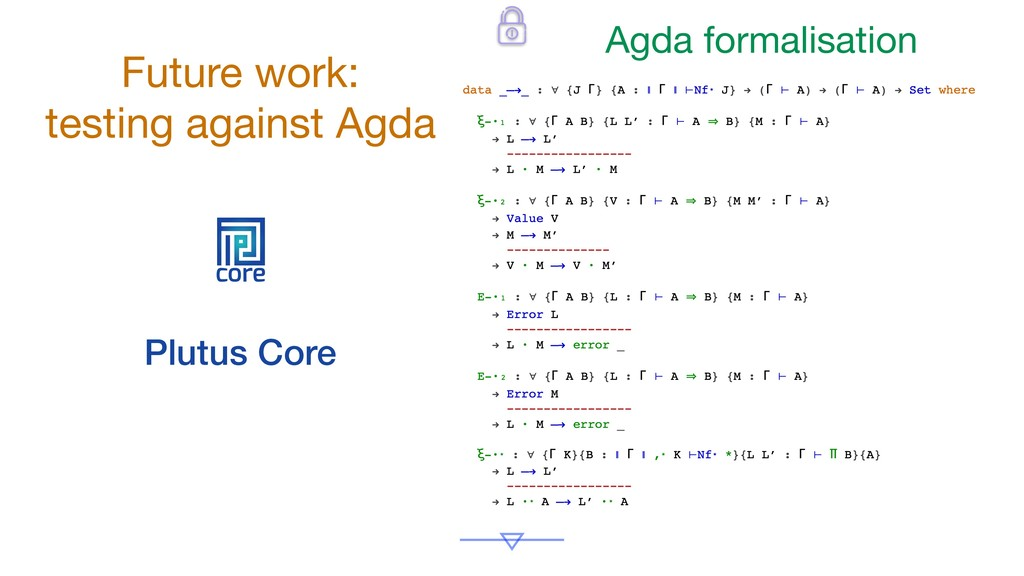 core Plutus Core Future work:  testing against ...