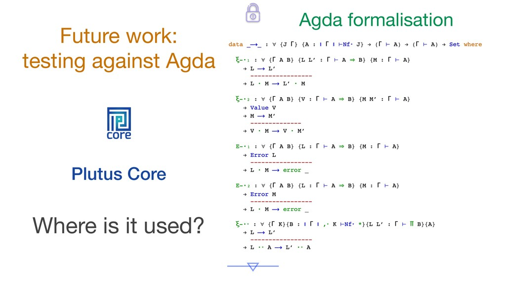 core Plutus Core Where is it used? Future work:...