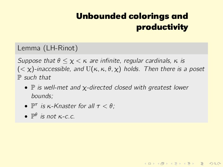 Unbounded colorings and productivity Lemma (LH-...