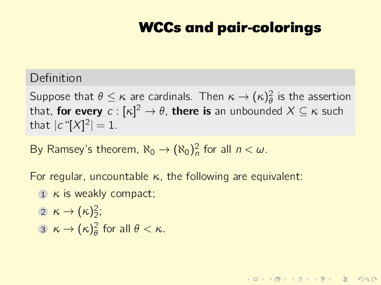 WCCs and pair-colorings Definition Suppose that ...