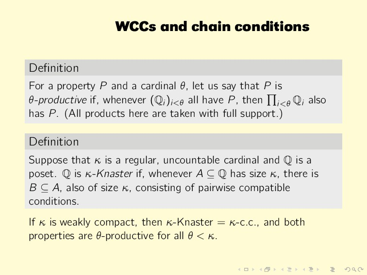 WCCs and chain conditions Definition For a prope...