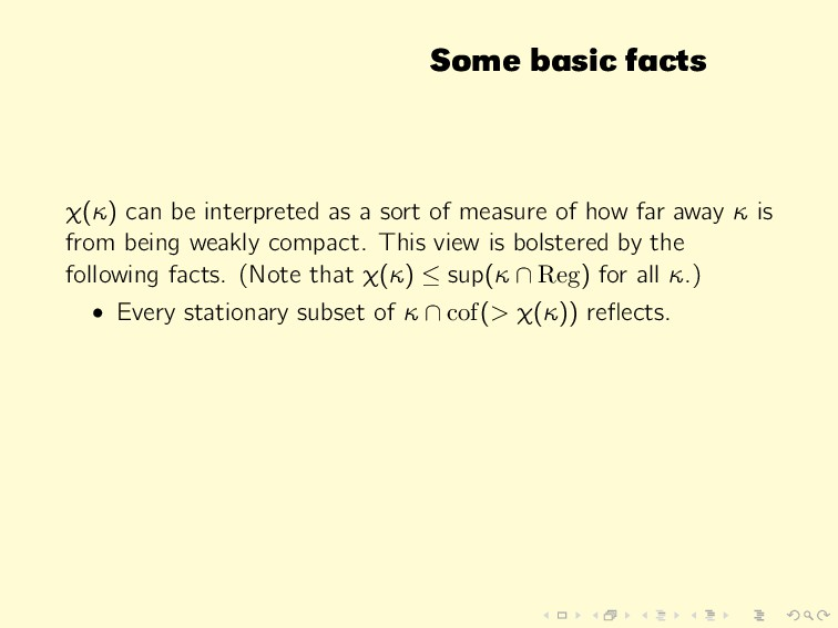 Some basic facts χ(κ) can be interpreted as a s...