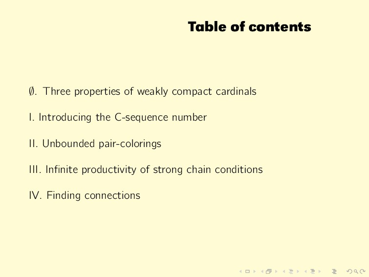 Table of contents ∅. Three properties of weakly...