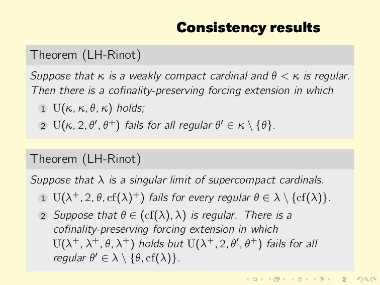 Consistency results Theorem (LH-Rinot) Suppose ...