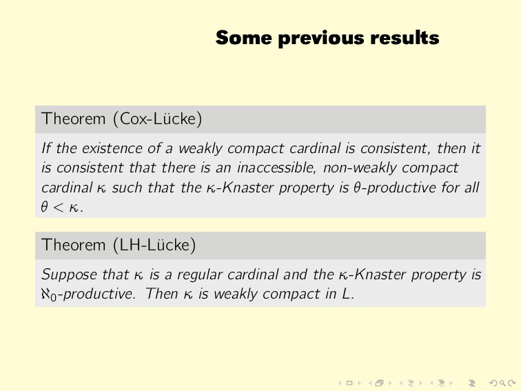 Some previous results Theorem (Cox-L¨ ucke) If ...