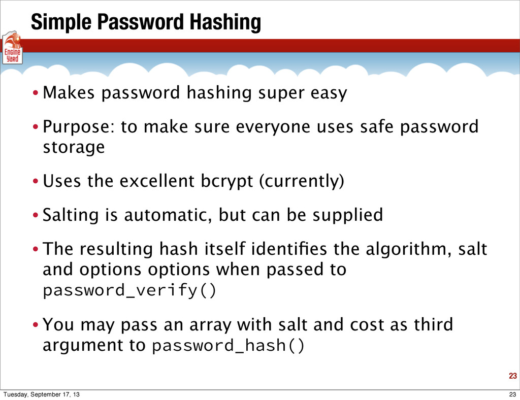 Simple Password Hashing • Makes password hashin...