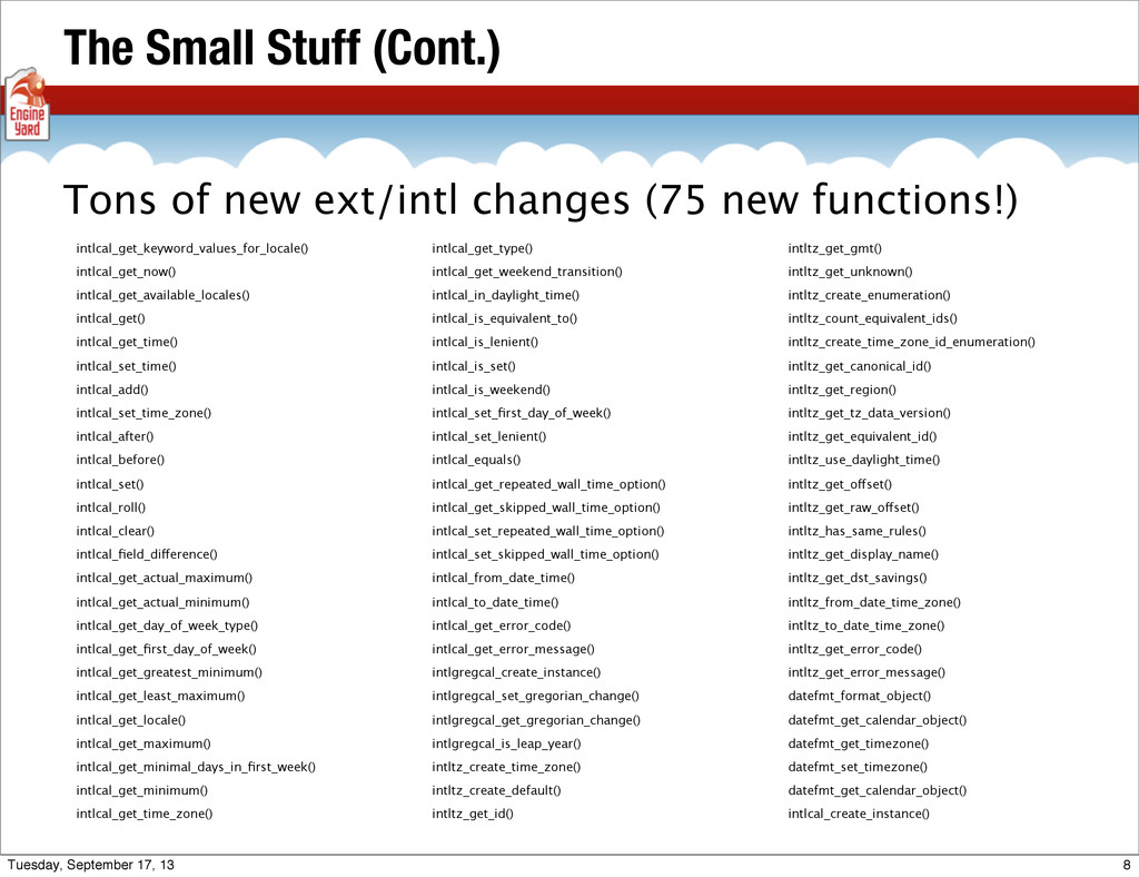 The Small Stuff (Cont.) intlcal_get_keyword_val...