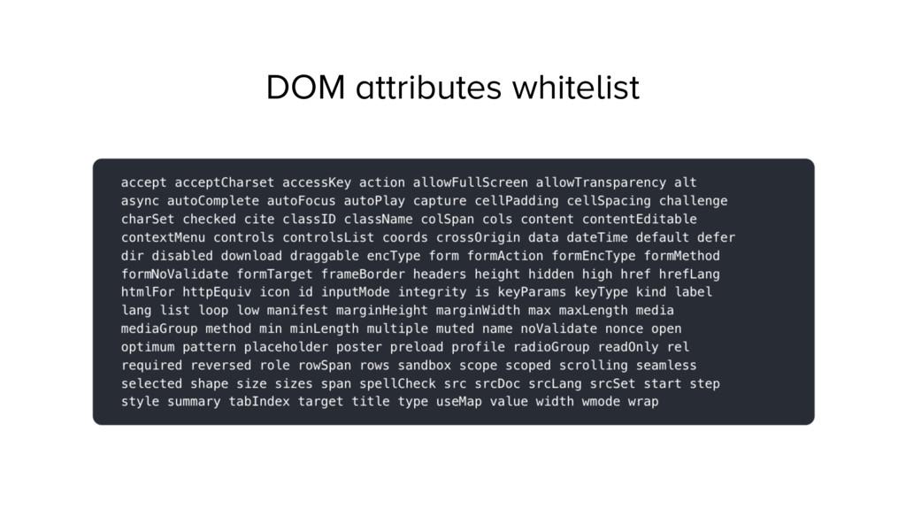 DOM attributes whitelist