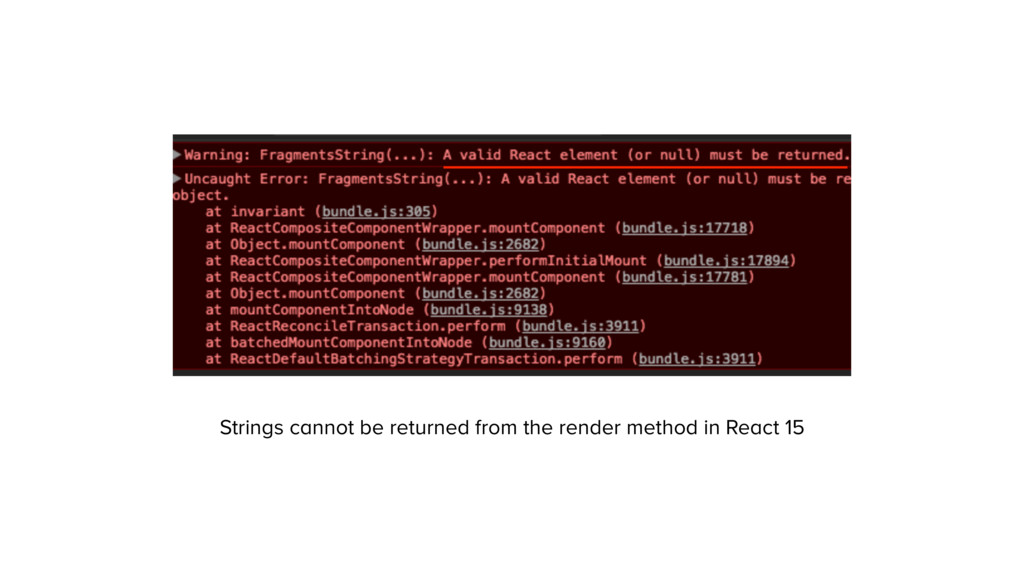 Strings cannot be returned from the render meth...
