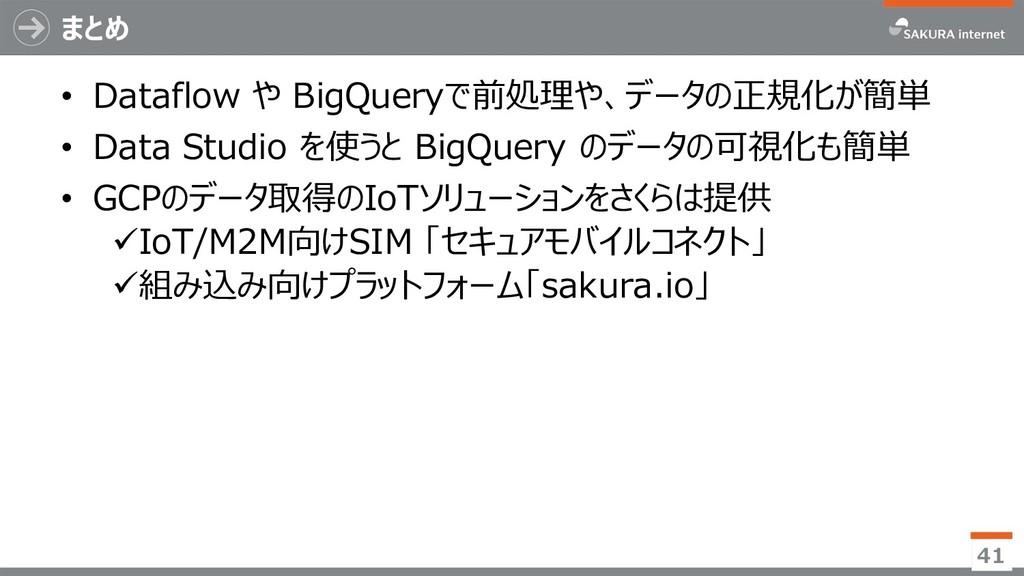 まとめ • Dataflow や BigQueryで前処理や、データの正規化が簡単 • Dat...