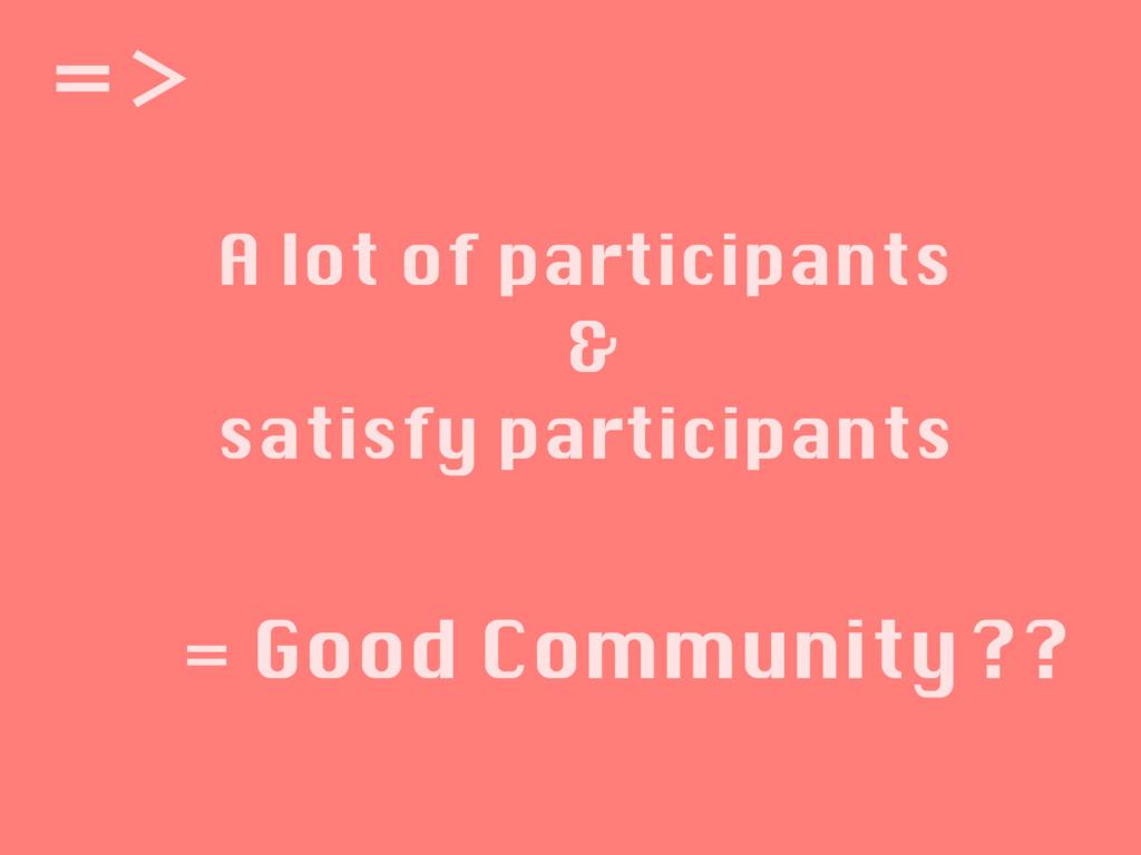 A lot of participants & satisfy participants ʹ'...
