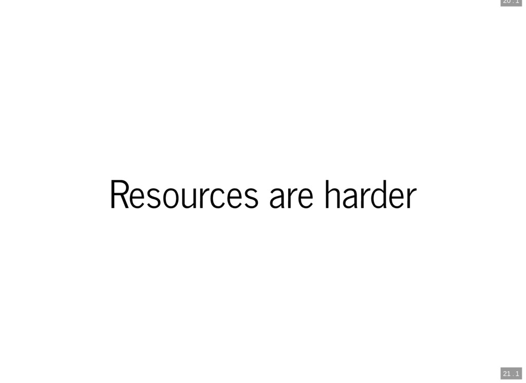 20 . 1 21 . 1 Resources are harder