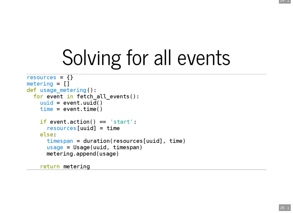 24 . 1 25 . 1 Solving for all events resources ...