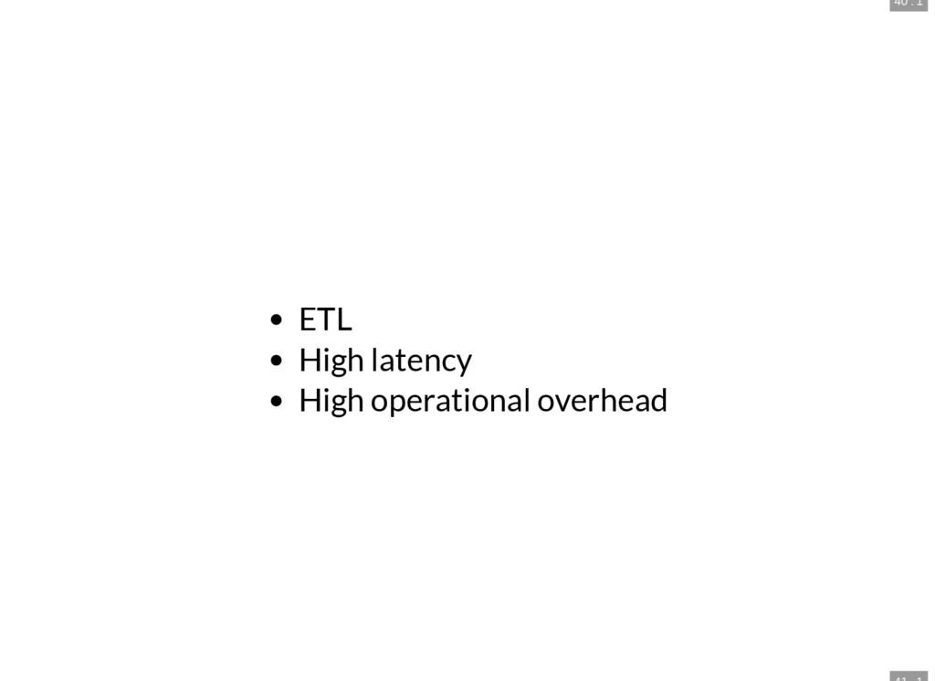 40 . 1 ETL High latency High operational overhe...