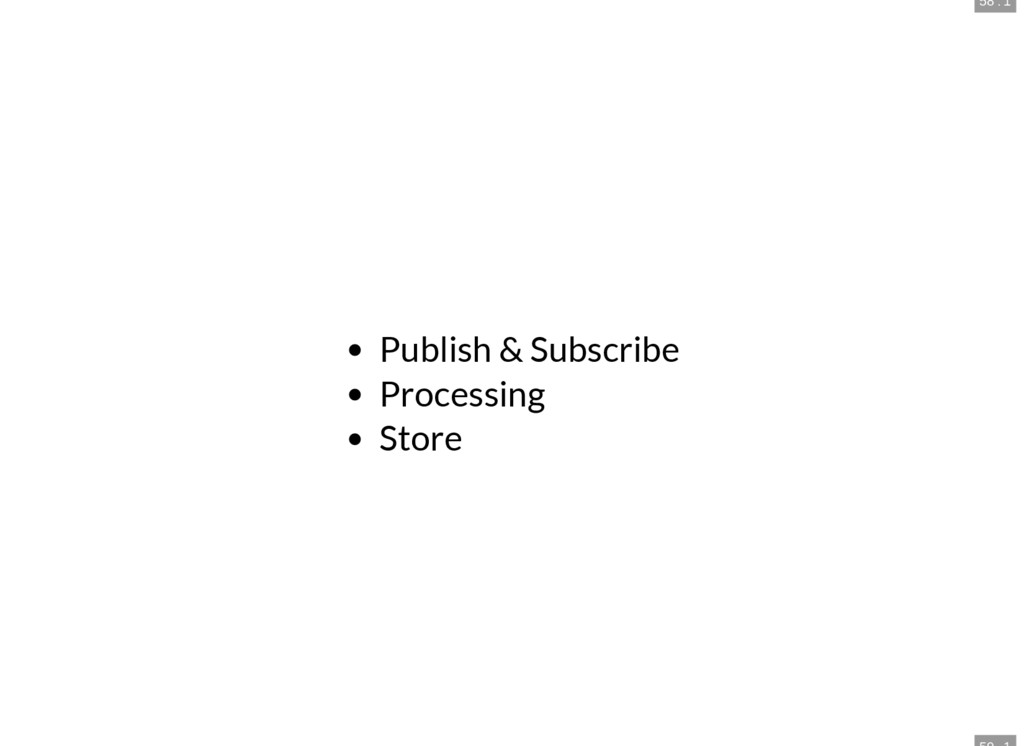 58 . 1 Publish & Subscribe Processing Store
