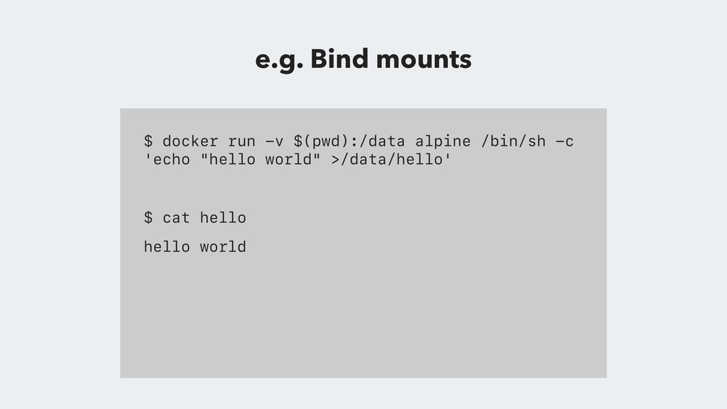 $ docker run -v $(pwd):/data alpine /bin/sh -c ...