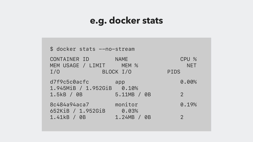 $ docker stats --no-stream CONTAINER ID NAME CP...