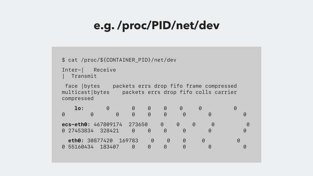 $ cat /proc/${CONTAINER_PID}/net/dev Inter-  Re...