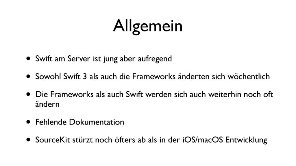 Allgemein • Swift am Server ist jung aber aufre...