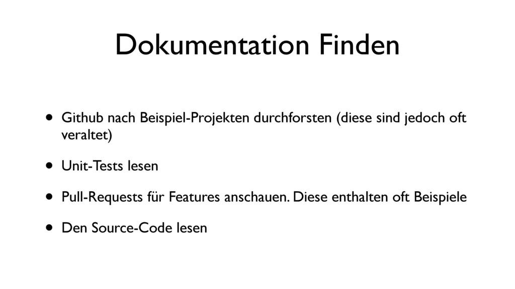 Dokumentation Finden • Github nach Beispiel-Pro...